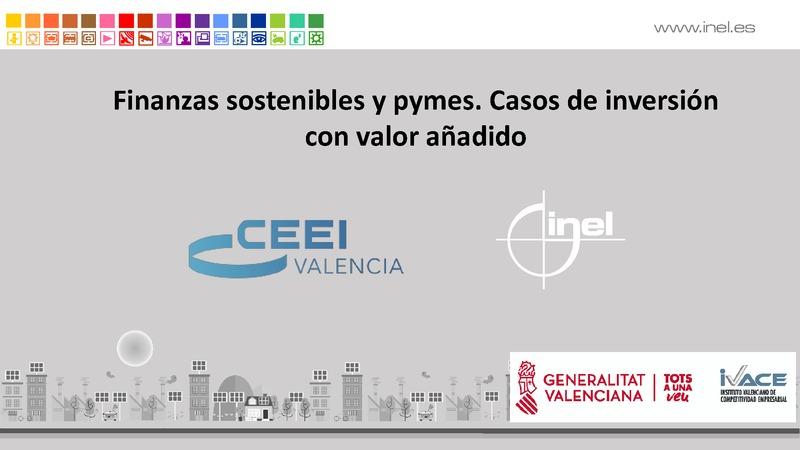 Presentación Jordi Sarrió de Inel 'Finanzas sostenibles y pymes. Casos de inversión con valor añadido'