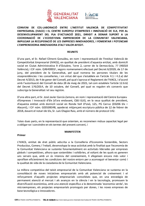 Convenio CEEI Elche - IVACE 2021