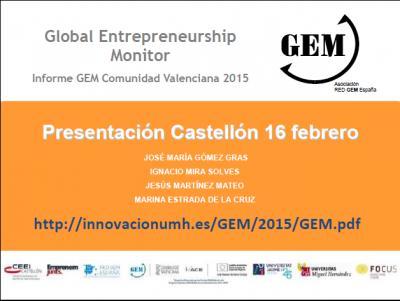 Presentación de José Mª Gómez Gras en presentación Informe GEM CV 2015