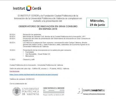 Invitación a la Jornada de Observatorio de Innovación en gran consumo en España 2019