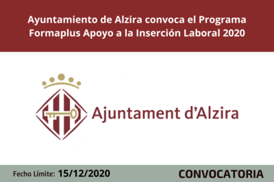 Ayuntamiento de Alzira convoca el Programa Formaplus Apoyo a la Inserción Laboral 2020