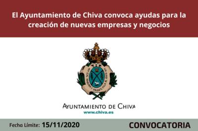 El Ayuntamiento de Chiva abre una línea de ayudas a la creación de nuevas empresas y negocios