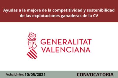 Ayudas a la mejora de la competitividad y sostenibilidad de las explotaciones ganaderas de CV